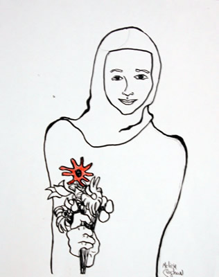 Gril with Flowers
